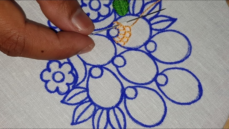Hand Embroidery Modern Butta Design With Net Stitch and Buttonhole Bead Embroidery