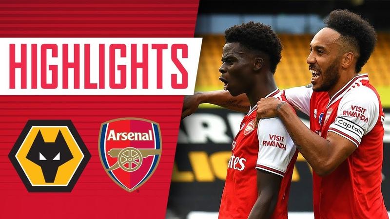 Saka and Lacazette both score Wolves 0 2 Arsenal Premier League Highlights