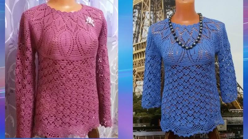 Блузка Листопад с кокеткой крючком Часть6 МК Blouse Listopad yoke crochet Часть