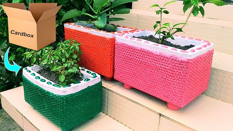 Amazing flower pot making at home with carton and bubble sheet How to make flower pot