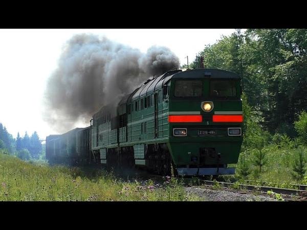 2ТЭ116 486 вывозным поездом дает прикурить