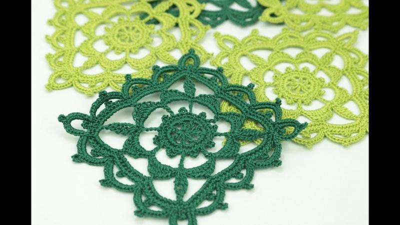 КВАДРАТНЫЙ МОТИВ урок вязания крючком How to Crochet a Square