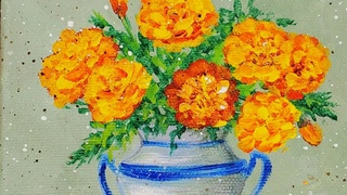 Marigolds Flower of the Month Acrylic Painting LIVE Tutorial