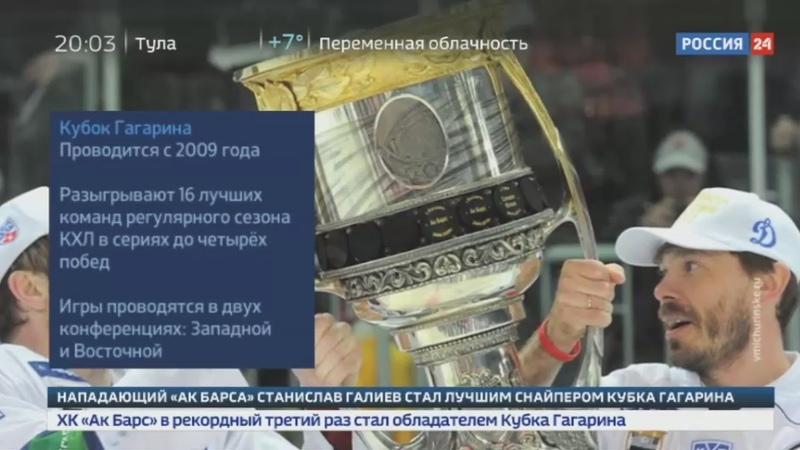 Новости на Россия 24 • Ак Барс стал первым трехкратным обладателем Кубка Гагарина
