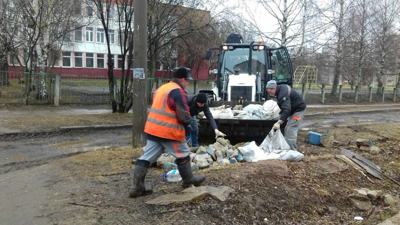 Проспект Строителей, 46. Вывоз мусора после проведения