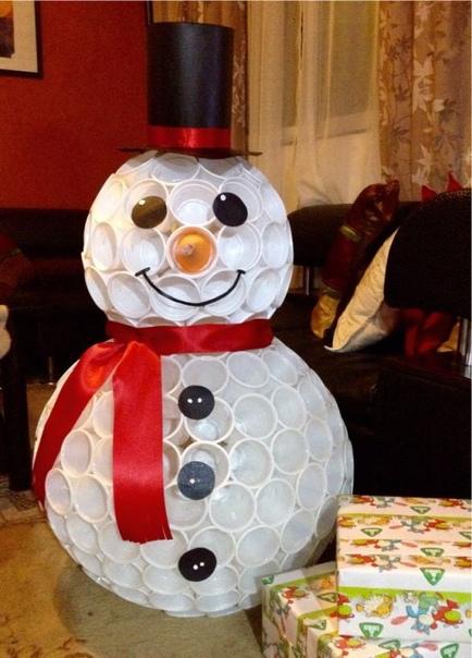 СНЕГОВИК ИЗ ПЛАСТИКОВЫХ СТАКАНЧИКОВ Из обычных пластиковых стаканчиков можно сделать замечательного снеговика, который никогда не растает и будет радовать ваших детишек ни один год. На
