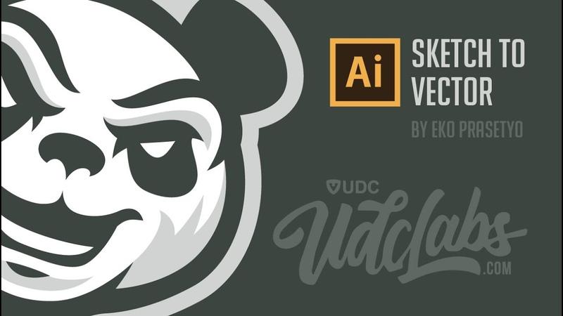 Sketch to Vector Panda Logo Adobe Illustrator