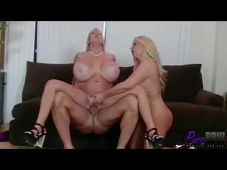 Kayla Kleevage, Karen Fisher - Super Busty Blondes Double Team a Lucky Cock [HD 720, Big Tits, Mature, MILF]