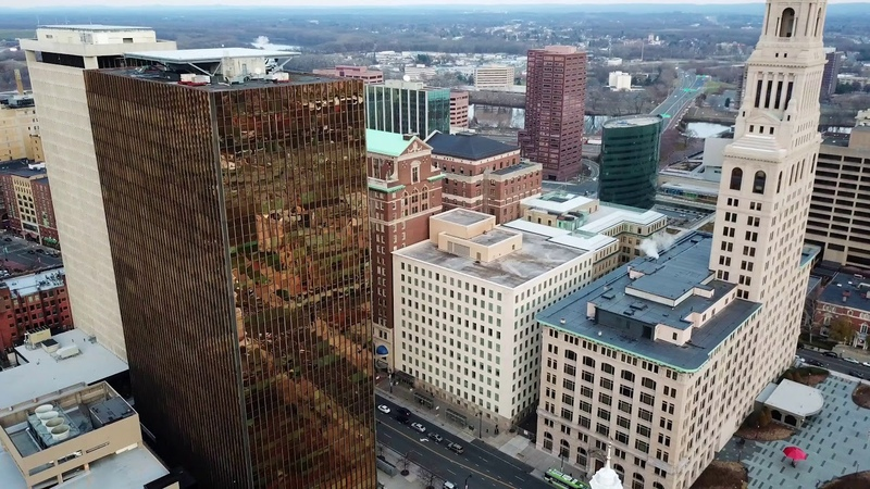 Hartford Connecticut downtown skyscrapers continuous aerial 4K drone panorama footage using Litchi