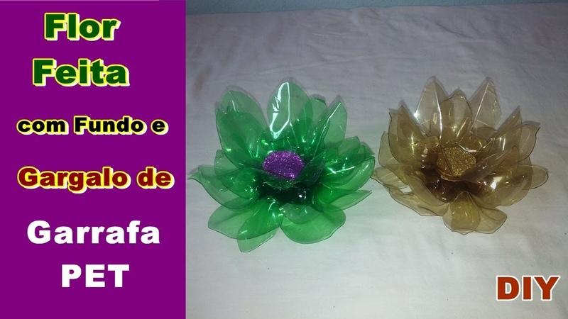 Flor Feita com Fundo e Gargalo de Garrafa PET | DIY Como Fazer | Criando Maravilhas