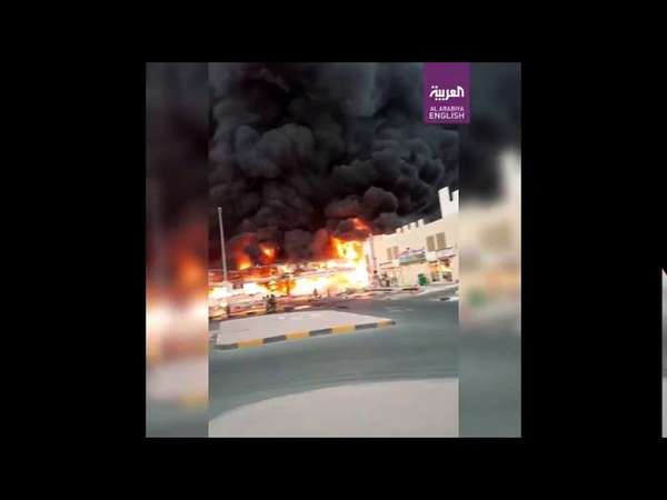 Incendiu puternic izbucnit in AJMAN Emiratele Arabe Unite Huge Fire Broke Out At Food Market