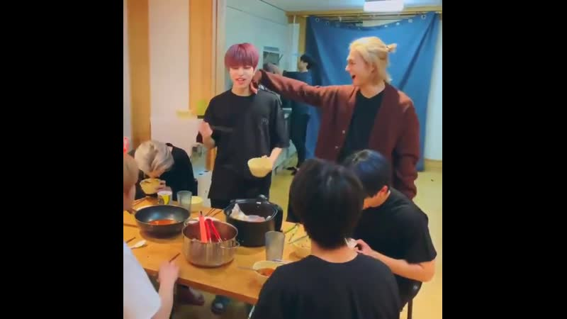 Hyunjin wiping off Seungmins sweat with his sleeve because he was sweating too much from eating the spicy food - - ️