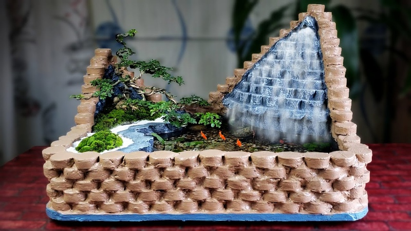 Wow Amazing Ideas with Cement How to Make Wonderful Mini Waterfall For Your House