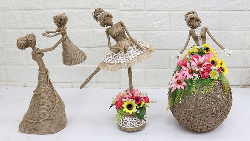 3 Beautiful Jute craft doll How to decorate doll from jute rope 2