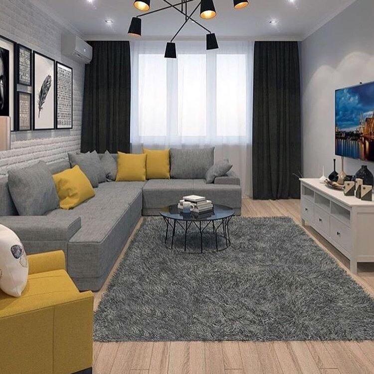 Приятная гостиная с интересным цветовым решением
