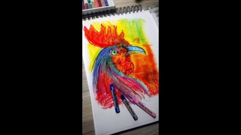 Como hacer un gallo en óleo Pastel x chamo estudio