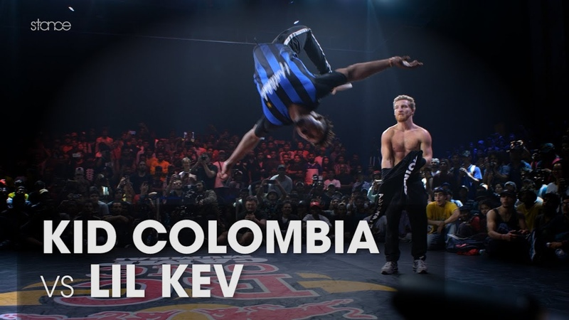 Kid Colombia vs Lil Kev stance angle RED BULL BC ONE WORLD FINALS MUMBAI Powermove Final