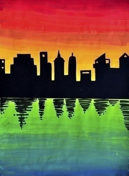 Рисуем закат в городе Красивые плавные переходы цвета (градиент) и черные силуэты города создают яркий эффектный контраст - попробуйте с