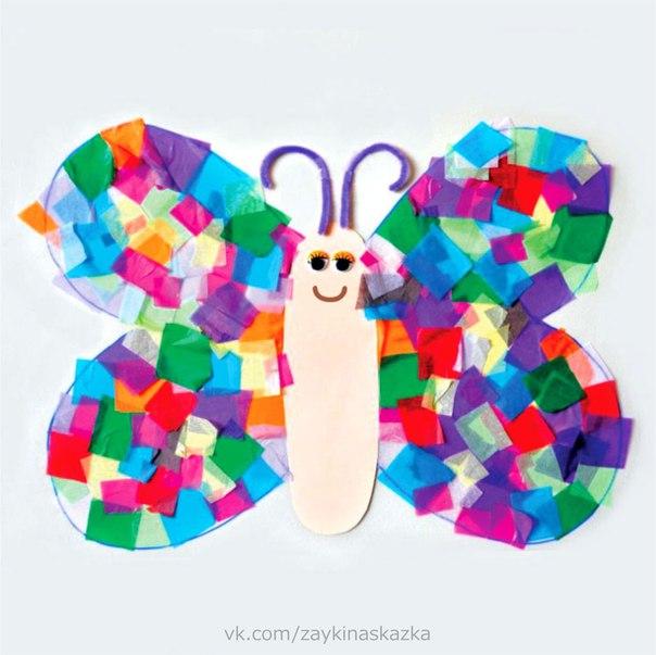 АППЛИКАЦИЯ «БАБОЧКА» Бабочка-красавицаВ ярком цветном платьицеПокружилась, полетала,Села на цветок, усталаНе для отдыха я села,Я нектар цветочный