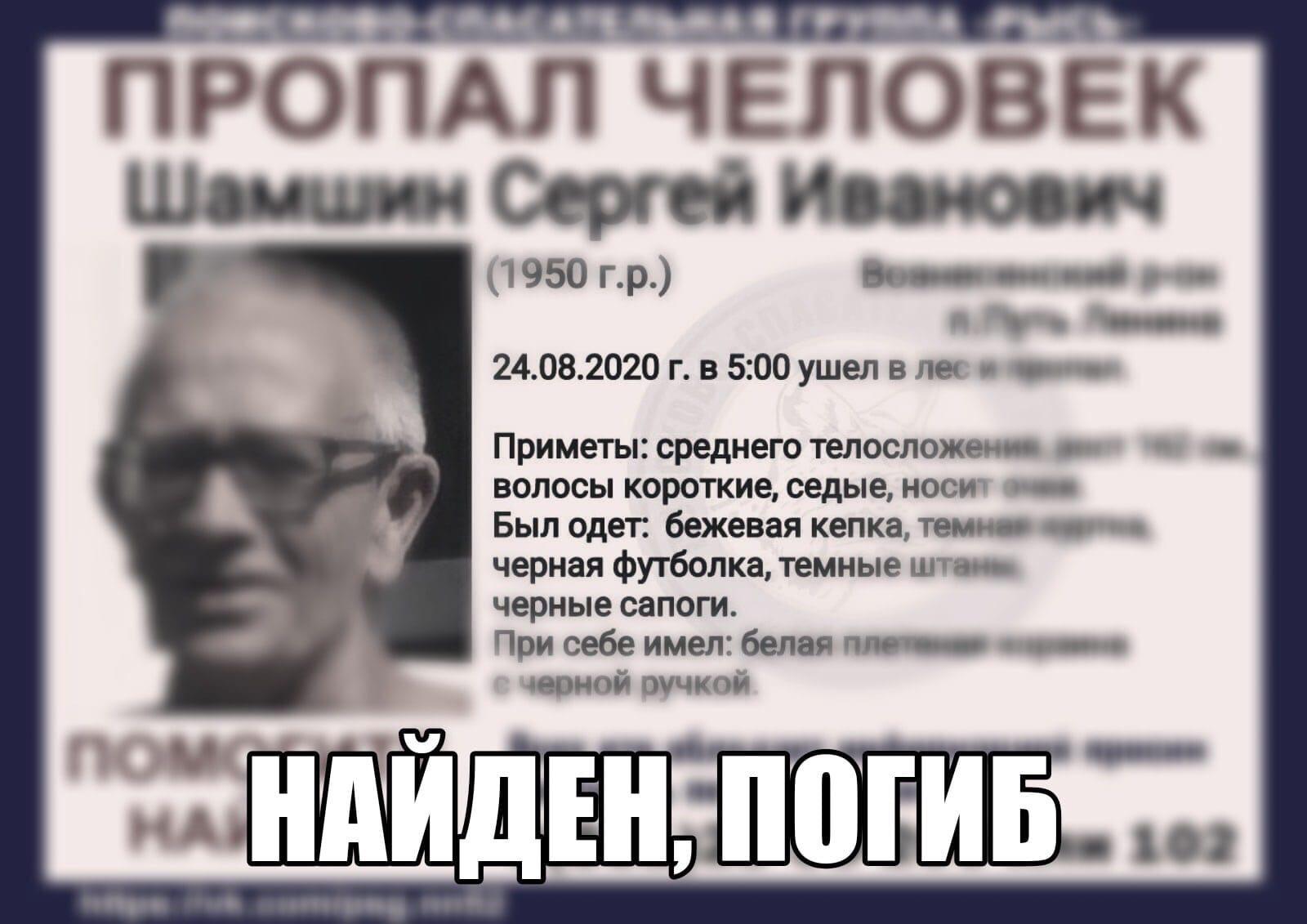 Шамшин Сергей Иванович, 1950 г. р., Вознесенский р-он, п. Путь Ленина
