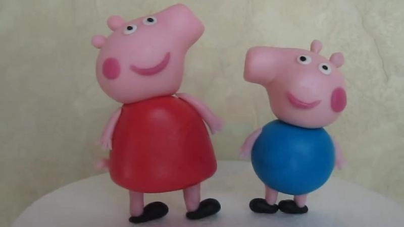 (ТОРТ-РЕЦЕПТ-VK) Свинка Пеппа и Джордж из мастики, мастер класс, лепка фигурок, лепим Свинку Пеппу и Джорджа, украшение торта » FreeWka - Смотреть онлайн в хорошем качестве
