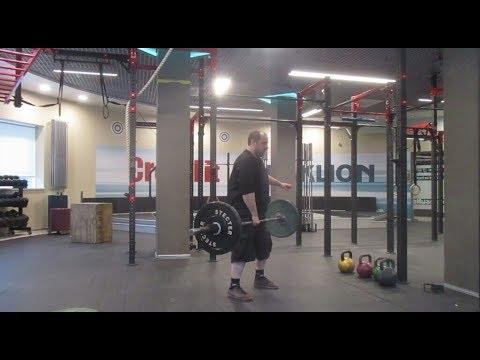 Мах штанги 51 кг с виса одной рукой. 51 kg barbell muscle swing from hang.