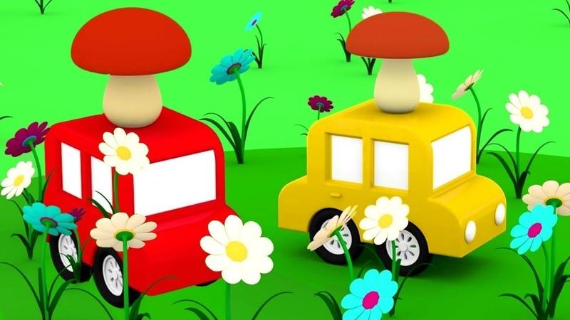 4 carros coloridos na floresta. Os cogumelos. Animação infantil.