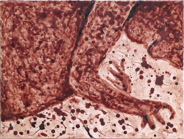 Румынская художница Тими Пал нарисовала на холсте своего будущего ребёнка при помощи пальцев, тампонов и собственной менструальной крови. Полотно создавалось на протяжении 9 месяцев и состоит из