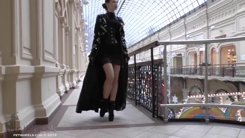 Ballet Heels Markissa walking at GUM in ballet boots latex coat