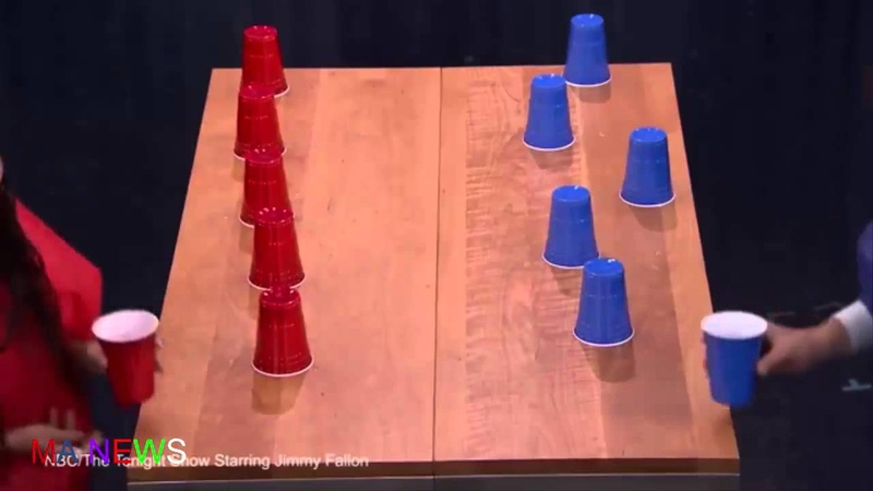 Jimmy Fallon plays inflatable flip cup with Zoe Kravitz