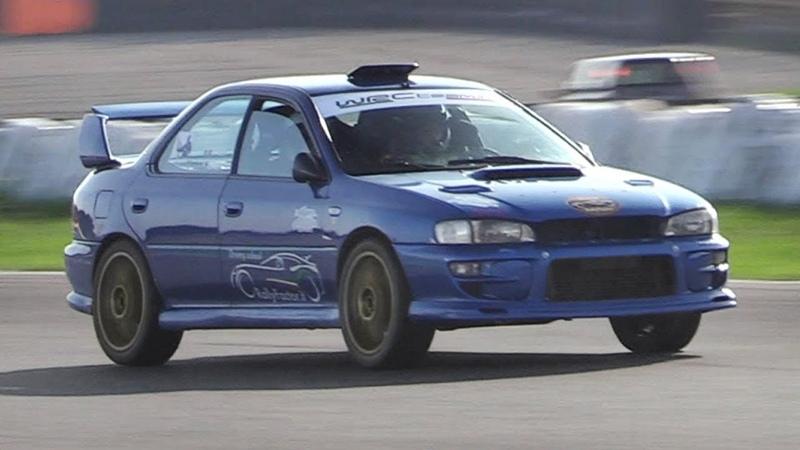 Subaru Impreza WRX STI GC8 Sound on track w/ LOUD Turbo Screamer Pipe!