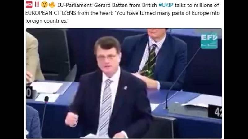 EU-Parliament: Gerard Batten from British UKIP talks to millions of EUROPEAN CITIZENS from the heart: 'You have turned many par