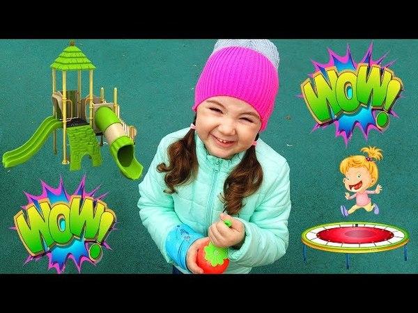 Настя Веселится на Супер Детской Площадке под Весёлые песенки Джони Джони ес папа, Видео для Детей