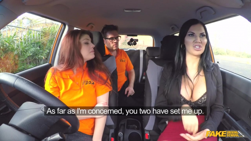 Fake Driving School Jasmine Jae Lucia Love Double Cumshot in Exciting 3some All sex Blowjob Threesome Sex in