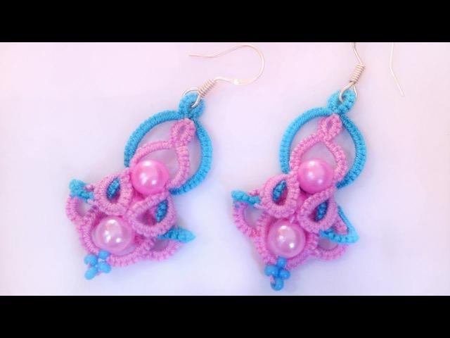 Двухцветные серьги фриволите иглой, анкарс, мк для начинающих. DIY earrings frivolite with a needle