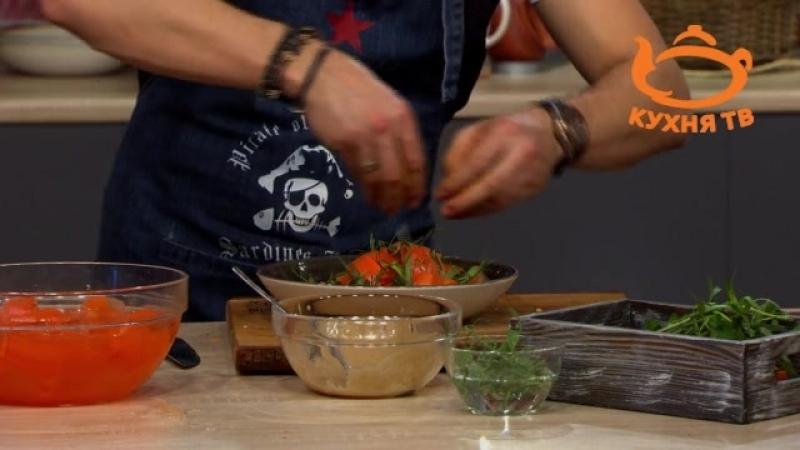 Морковный салат с кешью и каймаком. Чевапчичи в духовке. Аджвар на брускетте.
