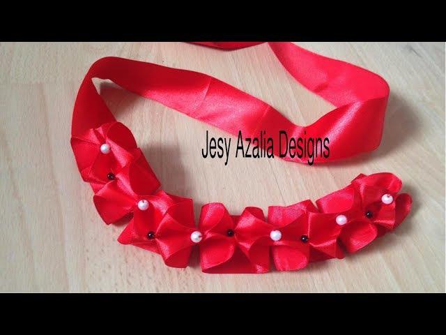 Ribbon art Ribbon lace Beaded ribbon manipulation no 6 Jesy Azalia Designs