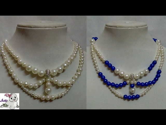 91 How to Make Pearl Beaded Necklace || Diy || Jewellery Making