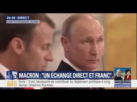 Macron - Poutine - Conférence de presse au Forum de Saint-Pétersbourg 24.05.2018