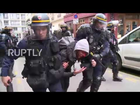 France Paris strikers bloodied and beaten as reform protests erupt