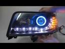 CrazyTheGod 100 1991 1994 BLUE CCFL Angel Eye Projector R8Look with Amber LED Black for AUDI
