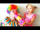 Good Clown Funny Baby Alisa Learning Colours / A lot of Pink Toys Slime Candy Ball / Kids songs