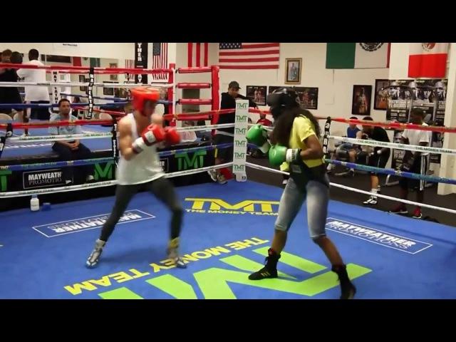 U.S Olympian Mikaela Mayer sparring inside Mayweather Boxing Club