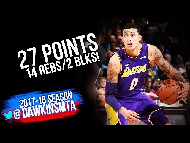 Kyle Kuzma Full Highlights 2017.12.22 at Warriors - 27 Pts, 14 Rebs, 2 Stls!