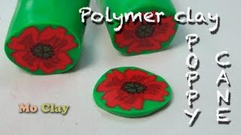 Easy cane Flower - Poppy Polymer clay tutorial