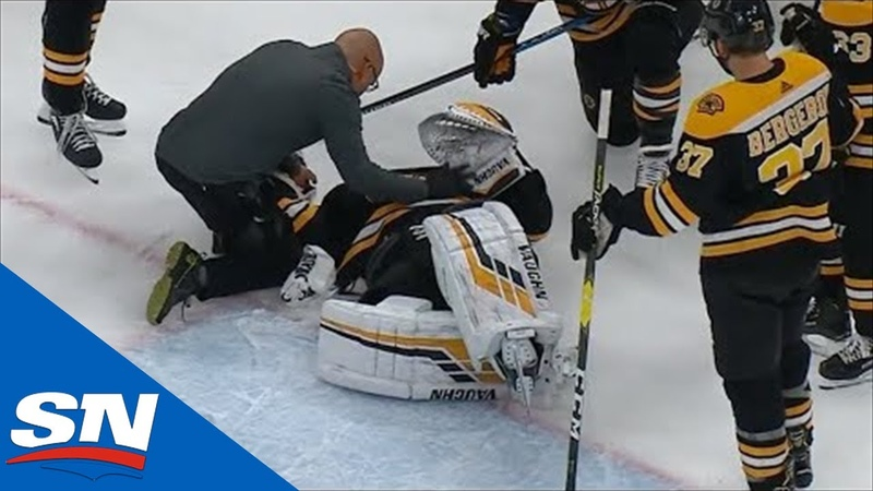 Tuukka Rask Has To Be Helped Off The Ice After Filip Chytil Slams Into Him During Goal