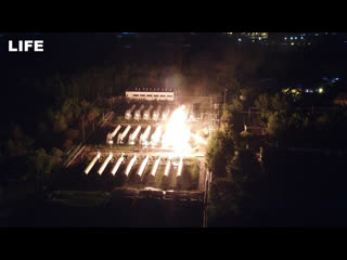 Кадры с дрона. Пожар на газохранилище в Казани