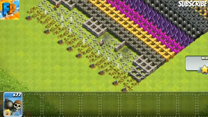 [FaLcOn PlAyS] OMG!!100 WALL BREAKER VS ALL MAX LEVEL WALLS 1,2,3,4,5,6,7,8,9,10,11,12 INSANE BATTLE CLASH OF CLANS