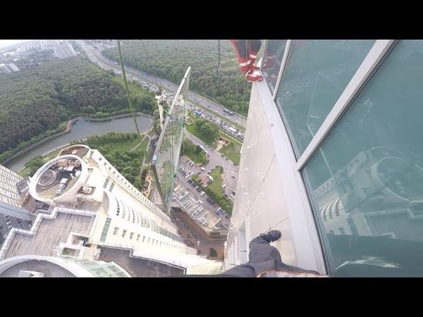47 этаж стекло 380кг у крана лопнул трос 47 floor, double-glazed window 380kg, crane cable burst.