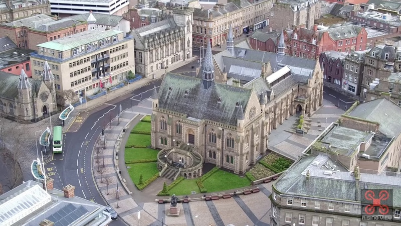 Вид на центр города Данди с дрона Dundee City Centre Scotland Aerial Drone Views